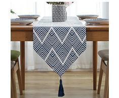 LivebyCare Elegante Multi-Size Geometrische Tischläufer mit Quasten Polyester Fall Tischläufer Tee Tisch Dekoration für Kommoden/Tee Tisch Modern 12.6x78 in Navy Table Runner