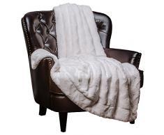 Chanasya Super Weich Warm Elegant Cozy Fuzzy Fell Flauschiges Kunstfell mit Sherpa gewelltes Muster Plüsch Überwurf Decke (127 x 165,1 cm) – massives Wave geprägt, Polyester, weiß, 50x65 inches