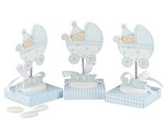 mopec wp930.03–PORTAFOTO Baby in Kinderwagen mit Feder in blau mit Box blau sortiert in 3verschiedenen Muster mit 5Marienbildnis, 24-er Pack