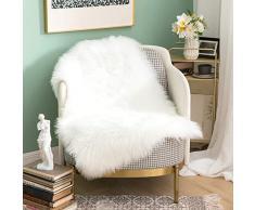 MIULEE Super weicher Flauschiger Teppich Kunstfell-Teppich Dekorativer Plüsch Zottelteppich für Nachttisch, Sofa, Boden, Kinderzimmer 2 x 3 ft Rectangle weiß