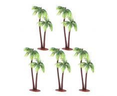Tinksky 5 x Kunststoff Coconut Palm Tree Miniatur Blumentöpfe Bonsai Craft Micro Landschaft DIY Decor