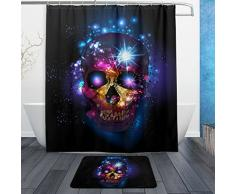 Fantastische Halloween Decor Sugar Skull Day of the dead Wasserdicht Polyester Stoff Vorhang für die Dusche (152,4 x 182,9 cm) Set mit 12 Haken und Bad-Teppiche Teppiche (59,9 x 39,9 cm) für Badezimmer – Set von 2, Polyester-Mischgewebe,