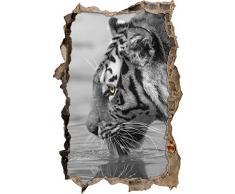 Pixxprint 3D_WD_S4919_92x62 gestreifter Tiger am Wasser Wanddurchbruch 3D Wandtattoo, Vinyl, schwarz / weiß, 92 x 62 x 0,02 cm