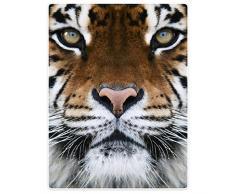 Decken Fleece Decke/Überwurf für Sofa Bett Animal Print Tiger Face, Flanell, braun, 152 x 203 cm