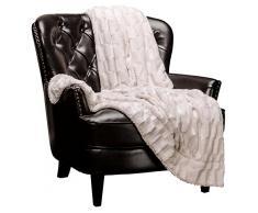Chanasya Super Soft Fuzzy Fell Elegante Kunstfell rechteckig geprägtes Muster mit flauschigem Plüsch Sherpa Cozy Warme Tagesdecke, 100% Polyester, Cremefarben, 50x65 inches