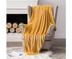 MIULEE Ultra weiche Fleecedecke Luxuriös Fuzzy für Couch oder Sofa, leicht, flauschig warm, Bettdecke mit niedlichen Pompons Twin(60x80) gelb