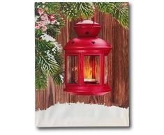 Banberry Designs Weihnachten Bild – Beleuchtet Wand Kunst mit Rot Laterne und Greenery – Winter Szene LED Leinwandbild