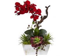 Nearly Natural Fast Natur Seasonal Orchidee und des frischen Garten mit Übertopf, Rot