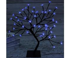 LED Bonsai Cherry Blossom Tree Light, Crystal Flower Adjustable Branches Artificial Tree, Timer Battery Operated for Home Decoration Night Light and Gift