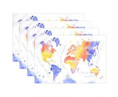 The Globe Weltkarte hitzebeständig Tischsets schmutzabweisend Tisch Matten waschbar Essen, Matte für Zuhause, Küche, Büro und Outdoor Modern Multi3