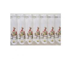Scheibengardine, »Schubkarre«, mit Durchzuglöchern, veredelt mit echter Plauener Spitze Stickerei (1 Stück), Panneaux, STICKEREIEN PLAUEN Weiß