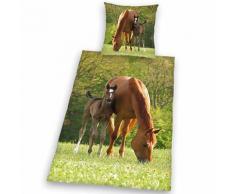 Kinderbettwäsche Pferd mit Fohlen, Linon, 135 x 200 cm