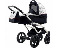 Kombi Kinderwagen Voletto Tupfen mit Wickeltasche, weiß-schwarz
