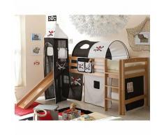 Spielbett mit Turm Toby R, Buche massiv, natur, Pirat schwarz-weiß