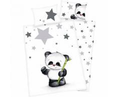 Wende- Kinderbettwäsche Panda, Renforcé, 100 x 135 cm