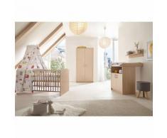 Komplett Kinderzimmer Classic Buche (Kombi-Kinderbett 70 x 140 cm mit Umbaukit, Umbauseiten, Wickelkommode und Kleiderschrank 2-trg.), Holzdekor Buche