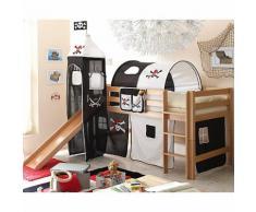 Spielbett mit Turm Toby G, Buche massiv, natur, Pirat schwarz-weiß