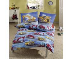Kinderbettwäsche Bagger blau, Biber, 135 x 200 cm