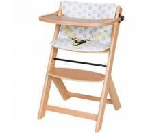 Hochstuhl Domino III inkl. Spielbrett, Sitzkissen, Sicherheitsbügel und -gurt, Sternchen grau, Buche massiv, natur lackiert