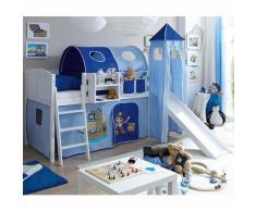 Spielbett mit Turm Ekki, Kiefer massiv, weiß, Pirat blau