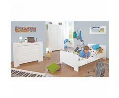 Jugendzimmer SKY groß, 3-tlg. (Jugendbett, Kommode und großer 2-türiger Kleiderschrank), Weiß/Hochglanz