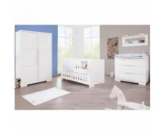 Komplett Kinderzimmer POLAR groß, (Kinderbett, Wickelkommode breit und 2-türiger Kleiderschrank), weiß edelmatt