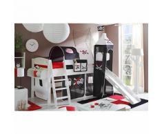 Spielbett mit Turm Kenny, Kiefer massiv weiß lackiert, Pirat schwarz-weiß