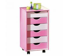 ABC Rollcontainer TITJE, rosa/weiß