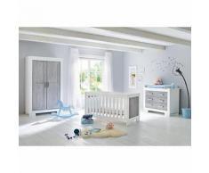 Komplett Kinderzimmer LOLLE, (Kinderbett, Wickelkommode und Kleiderschrank 2-trg.), Esche grau