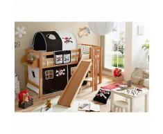 Spielbett mit Podest und Rutsche Tino, Buche natur, 90 x 200 cm, Pirat schwarz-weiß