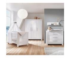 Komplett Kinderzimmer Nordic Hochglanz weiß (Kombi-Kinderbett, Umbauseiten, Wickelkommode und Kleiderschrank 3-türig), Dekor Hochglanz weiß