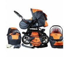 Kombi Kinderwagen Milano, 10 tlg., orange & grey