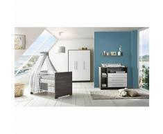 Komplett Kinderzimmer Eco Fleetwood (Kombi-Kinderbett 70 x 140 cm, Umbauseiten, Wickelkommode und Kleiderschrank 3-trg.), Dekor weiß/Holzdekor Fleetwood