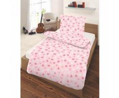 Kinderbettwäsche Herzchen, Renforcé, rosa, 135 x 200 cm