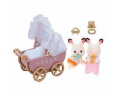 Sylvanian Families Schokoladenhasen Zwillinge mit Kinderwagen Puppenhauszubehör