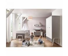 Komplett Kinderzimmer Holly Grey (Kombi-Kinderbett 70 x 140 cm, Umbauseiten, Wickelkommode und Kleiderschrank 3-trg.), Dekor/Massivholz weiß,Holzdekor Lofteiche