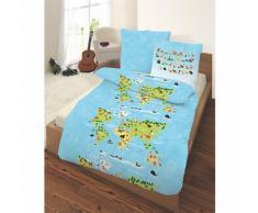 Kinderbettwäsche Weltkarte, Renforcé, 135 x 200 cm