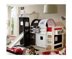 Spielbett mit Turm Toby G, Buche massiv, weiß, Pirat schwarz-weiß