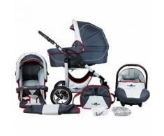 Kombi Kinderwagen Capri, 10 tlg., grey & red stripes