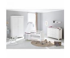 Komplett Kinderzimmer NINA extrabreit, (Kinderbett, Wickelkommode extrabreit und Kleiderschrank 2-trg.), Fichte weiß lasiert