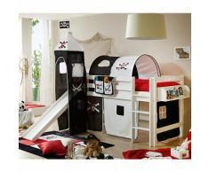 Spielbett mit Turm Toby R, Buche massiv, weiß, Pirat schwarz-weiß