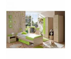 Komplett Jugendzimmer Lori, 6-tlg. (Jugendbett, Kleiderschrank, Standregal, Schreibtisch, Nachttisch, Wandregal), grün