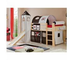 Spielbett mit Turm Kasper, Kiefer massiv, natur, Pirat schwarz-weiß