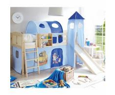 Spielbett mit Turm Ekki, Kiefer massiv, natur, Pirat blau