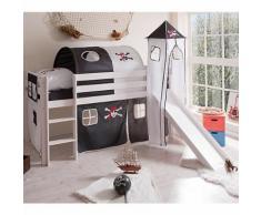 Spielbett mit Turm Kasper, Kiefer massiv, weiß, Pirat schwarz-weiß