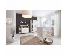 Komplett Kinderzimmer Eco Cascina (Kombi-Kinderbett 70 x 140 cm, Umbauseiten, Wickelkommode und Kleiderschrank 3-trg.), Dekor weiß/Holzdekor Cascina