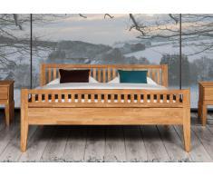 Massivholzbett Bett Kahle Eiche mit Fußteil und Bettkastenoption