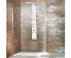 HSK Duschpaneel Lavida gekürzt B: 21 H: 160 T: 87-100,9 cm mit Regentraverse für Walk In edelstahl poliert/Glasfront weiß 1900004-42