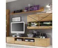 MERIVA TV-Lowboard 220 cm + Wandboard 194 cm Kernbuche geölt