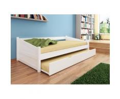 MILANO Bett Funktionsbett Kojenbett 90 x 200 Kernbuche massiv weiß lackiert